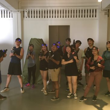 laser tag team building for a group of colleagues